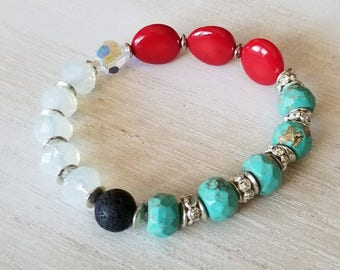 Turquoise bracelet, boho jewelry, beaded bracelet for women, mothers day gift mom gifts from daughter, coral bracelet, stacking bracelet