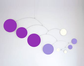 MOD MOBILE in Purple & Lavender - 3 SIZES Available - Groovy Retro Mid Century Calder Inspired Hanging Modern Art - Home Decor Mobiles