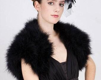 Promo Sale: Promo sale - Black Marabou  Feather  Bolero. Available in sizes XS -  2X