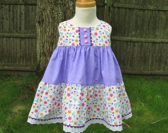 Sleeveless baby dress, Size 18Mo, Dainty flowers, Pink yellow turquoise, lilac dress, Tiered skirt, Ready to ship, Party, Playtime, Birthday