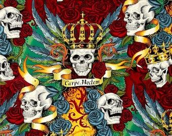 Carpe Noctem  Royal Bright Color ~ Alexander Henry Skullduggery ~ Cotton Quilt Fabric