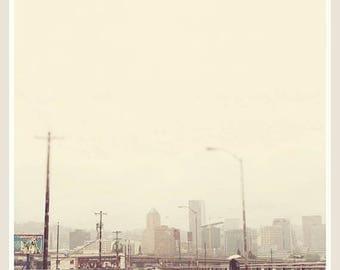 SALE Portland Oregon photograph, Hawthorne Bridge, downtown city skyline, rainy day, neutral gray grey, Pacific Northwest travel print