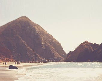 Big Sur photography, landscape photo, rocks, California beach print, autumn gold earth tones, west coast seaside, ocean, travel, Myan Soffia