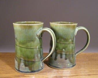 16oz , Stoneware Pottery Mugs , Ceramic Mugs , Beer Mugs , Pottery Mug , Coffee Cup Pair , Great Beer or Coffee Lover Gift Set !