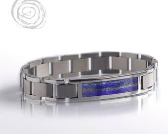Blue Pyrite Bracelet With Lapis Lazuli, Interchangeable Bracelet Set, Stainless Steel Jewelry