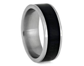 Black Jade Wedding Band, Matte Titanium Ring, Stone Jewelry, Wide Wedding Band