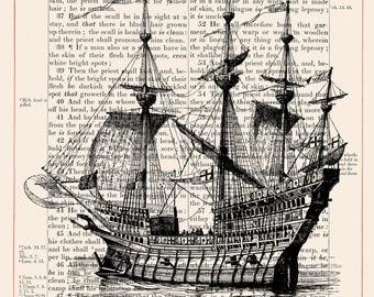 Vintage Ship on 1883 Bible Paper