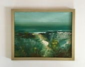 Tonalist Green Painting - Cape Cod Beach- Original Painting- 8 x 10 - Canvas over MDF Panel- Champagne Minimalist-  Wood Frame