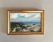 Small Beach Painting-  Study Painting -Original -Seascape- Beach Small Art -5-1/2 x 8 approx. including frame- Ready to Hang