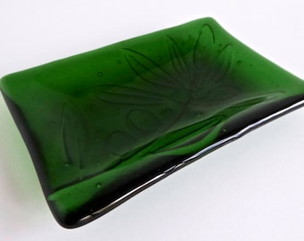 Fused Glass Olive Imprint Dish in Bright Green by BPRDesigns