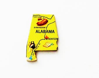 1961 Alabama Brooch - Pin / Unique Wearable History Gift Idea / Upcycled Vintage Wood Jewelry / Timeless Gift Under 25