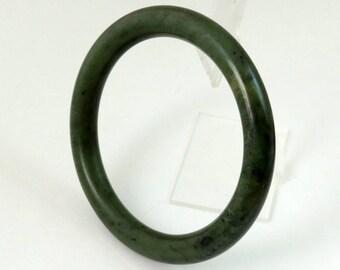 Vintage Estate Nephrite Jade Bangle Bracelet, Spinach Green