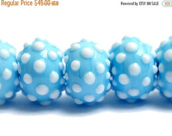 ON SALE 35% OFF New! Handmade Glass Lampwork Bead Set - 10414001 Seven Polka Dots on Baby Blue Rondelle Beads