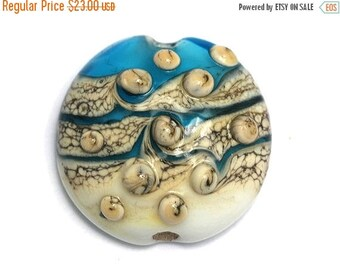ON SALE 30% off Weave w/Bubble Lentil Focal Bead - Handmade Glass Lampwork Bead 11807302