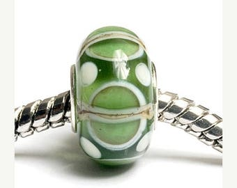 ON SALE 30% off Glass Lampwork Beads  - Large Hole Light Green w/Ivory Silver Rondelle Bead  - SC10067