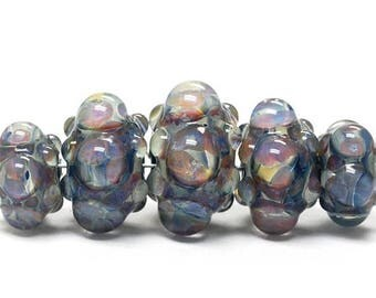 ON SALE 30% off Five Graduated Purple & Blue Rondelle Beads Bubbly raised design - Handmade Glass Lampwork Beads - 10408911