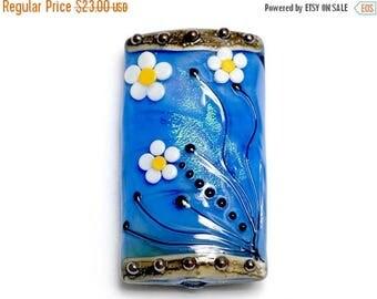 ON SALE 30% off NEW! 11838403 Arctic Blue Florals Kalera Focal Bead - Handmade Glass Lampwork Bead