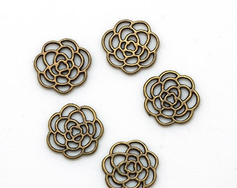 5 flower charms antiqued 16mm color bronze