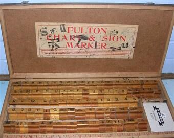 Antique Vintage Stamping Blocks Antique Vintage Stamping Block Set In Original Wooden Box
