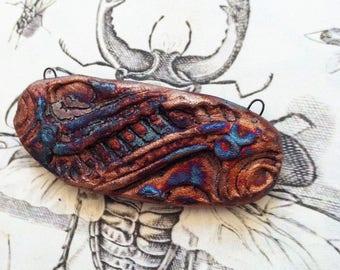 231. Wondrousstrange Raku Tribal Copper Fuchia Moss Green Blue Pendant/Connector