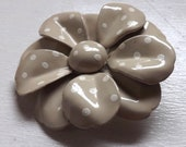 Vintage enamel flower brooch or pin polka dot two tone layered dimensional neutral mud gray beige greige and white