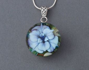 Artisan Sterling Silver Lampwork Flamework  Glass Blue Flower Focal Pendant