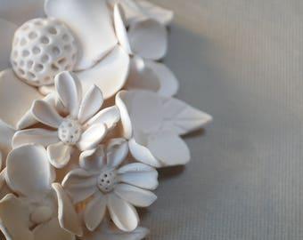 Murale de fleurs - texturé jardin cercle fleur d'argile blanc décoration minimaliste moderne d'inspiration