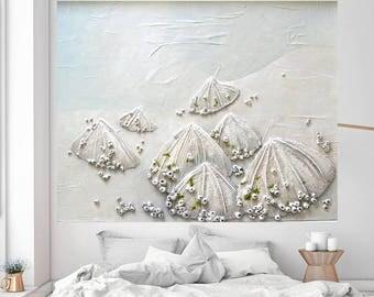 Seashell Painting - Nautical Ocean Sea Beach Limpets Seashells String Art Textured Abstract Wall Art Home Decor Large Coastal Art