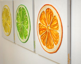 Orange Lime & Lemon Paintings - Bright 3 Panel Wall Art Colorful Zesty Fruits Kitchen Wall Decor