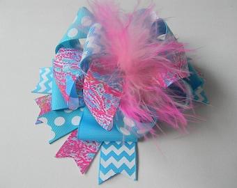 Lilly Hair Bows-Ott Hair Bow-Lilly hair clip-Turquoise hair bow
