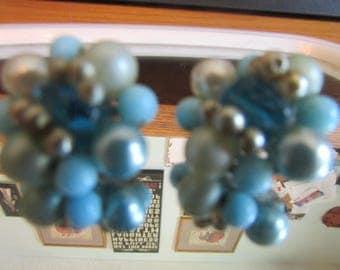 blue bead cluster earrings clip ons