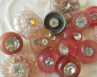 Vintage buttons, lot of 15 assorted shades of pink acrylic with rhinestones,  (july437  17)