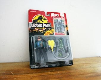 vintage 1993 Jurassic Park Dennis Nedry Figure Tranq Spray Gun New on Card