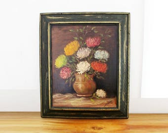 vintage 70s Spider Mums Chrysanthemum Floral Still Life Artist Signed Oil on Canvas Framed Painting // Romantic Wall Hanging