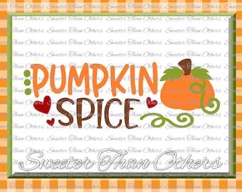 Fall SVG, Pumpkin Spice svg, Thanksgiving Svg, Dxf Silhouette Cricut INSTANT DOWNLOAD, Vinyl Design, Htv Girl Monogram, Scal, Mtc