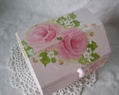 Pink Roses Box Hand Painted Cottage chic home decor Wood Treasure Trinket