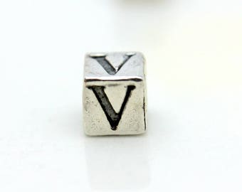 Sterling Silver Alphabet V Block Cube Square Bead 5.5mm Large Hole