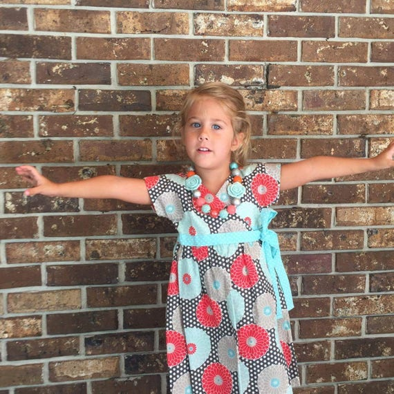 Floral Girls Wrap Dress, Handmade Dress,Cotton Dress, Short Sleeve Dress, Back To School Dress, HolidayDress, Baby Dress, Tween Dress