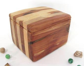 Laminated Red Cedar & Port Orford Cedar Box, cremation urn, pet urn, valet box, wood art, wooden jewelry box, wood anniversary, wedding gift
