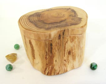 HOLDING for Spiralsouldesigns, Pacific Yew Tree Trunk Box, valet box, wood jewelry box, 5th wedding anniversary, retirement gift, heartwood