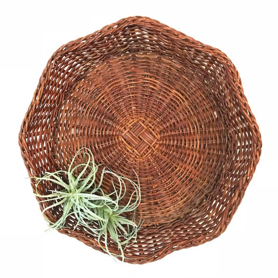 wicker wall basket with scalloped rim - large brown octagonal woven tray - boho farmhouse - gallery wall