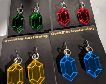 Mirrored Rupee Earrings, choose your color! Blue, Red, Gold, Green Zelda Shiny Geek Lasercut Jewelry