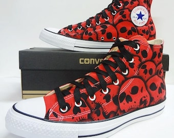 RokGear unique hand painted Skull Converse - All sizes all colors made to order