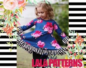 LALA GIRLS Natalie Peplum Shirt PDF Sewing Pattern Digital Modest