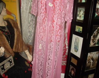 Vintage PInk Lace  Dress Flapper  does 20-30s  Tea Party  Size N/A