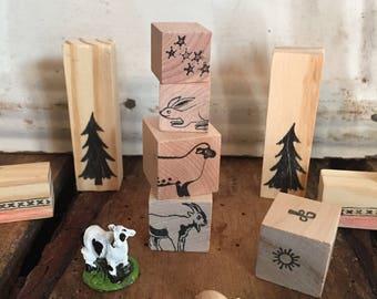 Wooden farm animal storytelling blocks pretend montessori waldorf inspired