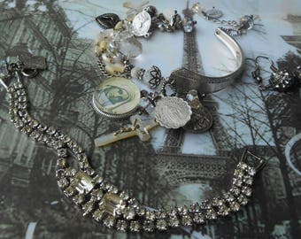 July 25% off sale...You are my Shining Star Antique Spoon and Rhinestone Set of Bracelets w/ antique MOP Rosaries