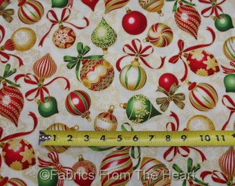Holiday Flourish Gold Metallic Red Green Balls BY YARDS Robert Kaufman Fabric