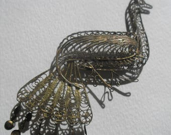 Vintage Large Gold Wash Filigeee Peacock Pin Articulated Feathers