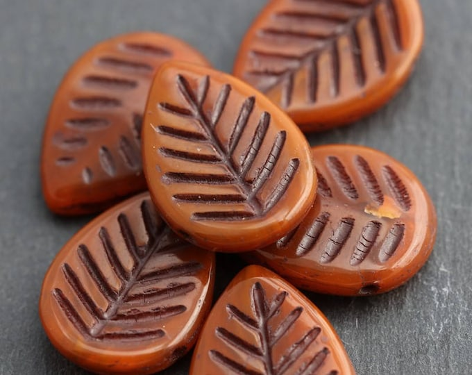 TERRACOTTA ASPEN .. New 6 Picasso Czech Glass Leaf Beads 16x12mm (5986-6)